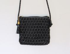 SOLD / #Vintage 1980 - 90s Tianni Black Woven Purse / Crossbody Bag by VelouriaVintage on Etsy $18.00