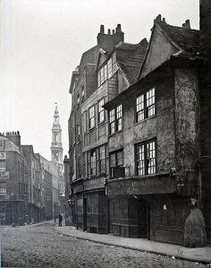 Old houses in Drury Lane, London, 1880