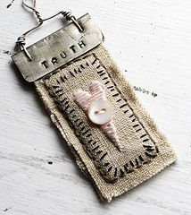 Art quilt pendant--Truth by Rebecca Sower Textile Jewelry, Fabric Jewelry, Textile Art, Fabric Necklace, Jewelry Crafts, Jewelry Art, Handmade Jewelry, Jewelry Design, Jewellery