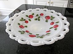Gay Fad Glassware Patterns | Fire King Gay Fad Strawberry Bowl- Lace Edge White Milk Glass (GAY FAD ...