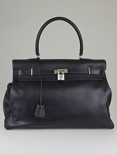 17e48e93a34d Hermes 50cm Bleu Indigo Veau Sikkim Leather Palladium Plated Kelly Relax  Bag High-end Mode