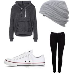 """Converse outfit"" by matilyn on Polyvore DC Sweatshirt Aperture. Wish I could wear this every day."