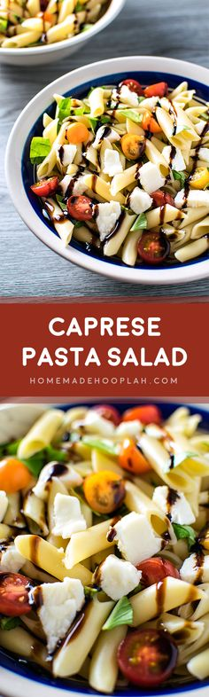 Caprese Pasta Salad! The perfect low-hassle pasta salad that tastes gourmet: balsamic glaze drizzled over baby heirloom tomatoes, basil, fresh mozzarella, and mostaccioli pasta. | Homemade Hooplah