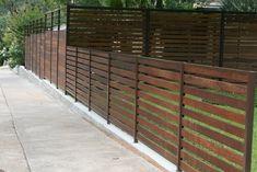 horizontal fence with metal frame