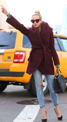 Taxi! Iin beautiful burgandy coat............  by Brooklyn Blonde