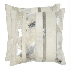 Safavieh Peyton 18-inch Decorative Pillows in Silver (Set of 2) - DEC202A-1818-SET2 - Lowest price online on all Safavieh Peyton 18-inch Decorative Pillows in Silver (Set of 2) - DEC202A-1818-SET2