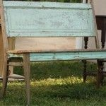 3 shades of green chair bench