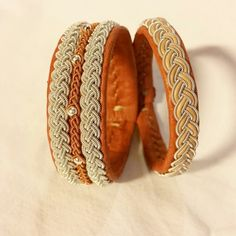 Pewter thread and reindeer leather. Samibracelets. Made in Luleå, Sweden.