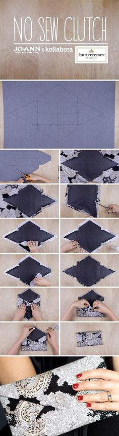 Chic Audrey No-Sew Clutch. Super easy and will go with any outfit. This one uses… Chic Audrey No-Sew Clutch. Super easy and will go with any outfit. This one uses Audrey's Buttercream Collection from Jo-Ann Stores. Sewing Hacks, Sewing Tutorials, Sewing Patterns, Purse Patterns, Fabric Crafts, Sewing Crafts, Sewing Projects, Pochette Diy, Diy Clutch