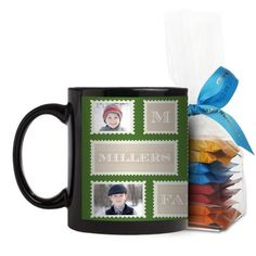 Love Family Stamps Mug, Black, with Ghirardelli Minis, 11 oz, Green