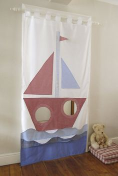 Doorway hanging curtain is perfect for inside play. This ship curtain can be used in any kids room as a curtain or as a play area in a doorway. Easy to hang up with tab tops and easy to fold up and put away Infant Sensory Activities, Baby Sensory, Sewing Projects For Kids, Crafts For Kids, Felt Games, Easy Sewing Patterns, Hanging Curtains, Creative Kids, Doorway