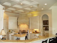 Love the coffered ceiling Coffered Ceilings, Florida Home, Wainscoting, Dream Decor, Wood Work, Architecture Details, Room Interior, Great Rooms, Custom Homes