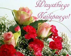 Kartka pod tytułem Wszystkiego Najlepszego w dniu imienin! Happy Birthday Wishes Cards, Floral Wreath, Greeting Cards, Wreaths, Celebration, Image, Nighty Night, Messages, Historia