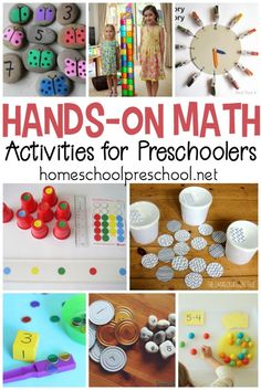 Ditch the math workbooks and printables! Teach counting, math facts, and more with these hands-on preschool math activities. #homeschoolprek #homeschooling #preschool #handsonmath #handsonlearning #preschoolmath   https://homeschoolpreschool.net/hands-on-preschool-math/
