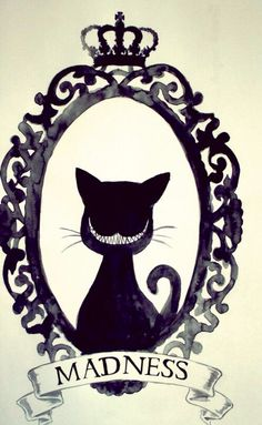 Silhouette of the Cheshire Cat inside a frame art ( Alice in Wonderland)