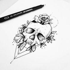 New Geometric Nature Tattoo Flower 41 Ideas Girly Skull Tattoos, Skull Tattoo Flowers, Flower Skull, Cute Tattoos, Flower Tattoos, Body Art Tattoos, Sleeve Tattoos, Ink Tattoos, Flower Art