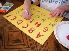 Fun ways for a toddler to learn how to write the alphabet. #ABC's #123's. Cotton swab, paint, paper and viola!