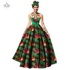 African women Dress Dashiki Print maxi Ball Gown strapless Party with headwrap African Dresses For Women, African Attire, African Wear, African Fashion Dresses, African Women, African Outfits, African Style, African Skirt, African Clothes
