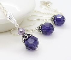 Purple bridesmaid jewelry set dark purple by CreativityJewellery, $40.00