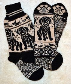 Hand crafted wool socks and mittens set Sized for adult The sock measures inches from heel to toe and 12 inches from the top of the sock to the bottom of the heel . Mittens measured long, 4 wide and thumb. Please check out fine Norwegian hand crafted Mittens Pattern, Knitting Socks, Mitten Gloves, Hand Knitting, Black Labrador Dog, Fair Isle Knitting Patterns, Wool Socks, Dog Sweaters, Tejidos