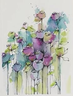 Watercolor Projects, Watercolor Artwork, Watercolor Design, Watercolor And Ink, Watercolor Painting Techniques, Watercolor Flowers, Alcohol Ink Painting, Alcohol Ink Art, Flower Art