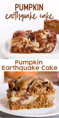 This easy Pumpkin Earthquake Cake is perfect for fall! It's made with spice cake mix that's been doctored up with canned pumpkin, and pumpkin spice. Spice Cake Mix Recipes, Cake Mix Desserts, Delicious Desserts, Fall Cake Recipes, Easter Recipes, Recipes Dinner, Dessert Recipes, Pumpkin Coffee Cakes, Pumpkin Spice Cake