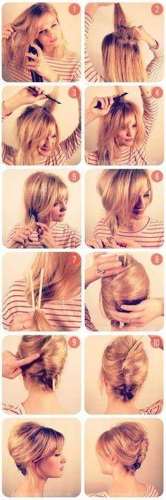 Peinado Elegante para cabello corto pasos