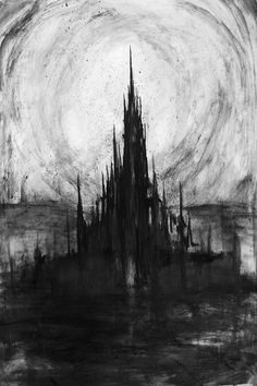 The dark castle Creepy Drawings, Dark Drawings, Creepy Art, Creepy Paintings, Creepy Sketches, Gothic Drawings, Arte Horror, Horror Art, Creepy Horror