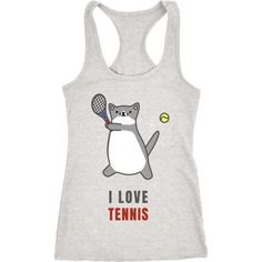 I Love Tennis Shoka Cat Playing Cute Unisex Racerback Tank ($16) ❤ liked on Polyvore featuring cotton jersey, racerback jersey and white jersey
