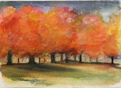Original Watercolor Painting AUTUMN STORM fall color maple trees in ...