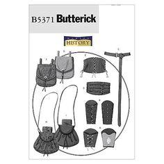 Butterick Patterns B5371 Misses'/Men's Wrist Bracers, Corset, Belt And Pouches, Size XM (SML-MED-LRG)