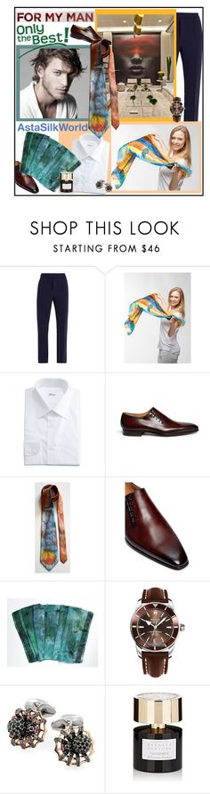 """AstaSilkWorld - Only the Best - For my Man (9)"" by carola-corana ❤ liked on Polyvore featuring Valentino, Brioni, Magnanni, Breitling, Tiziana Terenzi, men's fashion and menswear"