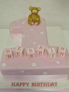 Shaped number 1 cake covered with pink sugarpaste with white dots and modelled teddy bear to sit on top. Description from cakeology.net. I searched for this on bing.com/images