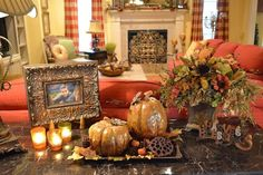 Kristen's Creations-love the fall vignette on her sofa table.