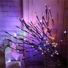 LED Willow Branch Lamp Floral Lights 20 Bulbs Home Christmas Party Garden Decor lighting 221 Twig Lights, Lighted Branches, Willow Branches, White Led Lights, Led String Lights, Light String, Willow Tree, Twinkle Lights, Solar Lights