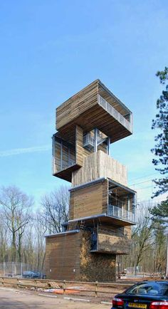 Dutch architects Ateliereen Architecten completed a 25 metre tall viewing tower at an outdoor sports park in Reusel, the Netherlands.