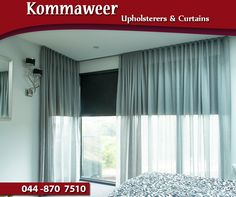 Whatever style, colour and material you are looking for, #Kommaweer can assist with custom-made curtains to suit your needs. Contact us on 044 870 7510. #curtains #decor