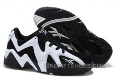 Reebok Kamikaze II Low Mens Fashion Sneaker Basketball Black White Logo For  Sale 8W5Et ef6aa3585