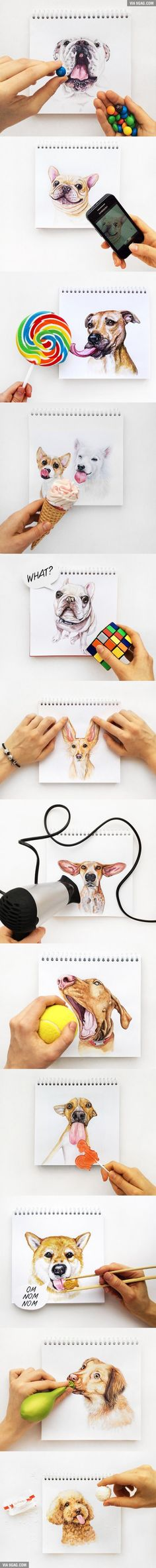 Lovely Illustrations That Connect Dog Paintings With Human Hands (By Valerie Susik)