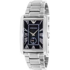 "emporio armani men s retro ar1676 silver stainless steel quartz 8 5 10 emporio armani men s classic ar1608 stainless steel analog quartz watch overstockâ""¢"
