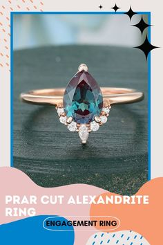 Rose Gold Pear Cut Engagement Ring, Alexandrite Vintage Solid Gold Marquise Shaped Wedding Ring For Women, Bluish Tiny Diamond Curved Ring ✥Description Of Ring :- ✥ Center Stone Details :- • Alexandrite (Lab Created) Diamond Details :- • Central Stone Shape : Pear Cut • Central Stone Weight : 0.70 CT • Central Stone Measurement : 6.00*8.00 MM • Central Stone Color :bluish green in daylight ✥ Side Stone Moissanite Details :- • Moissanite Details :- • Side Stone Shape : Marquise Cut