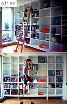 Oh to have space for a whole wall of shelves!