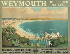 Beautiful Weymouth. Weymouth Beach, Weymouth Harbour, Weymouth Dorset, British Travel, British Seaside, Family Tree Research, Southern Railways, Railway Posters, Nostalgia
