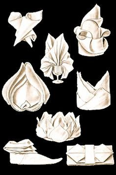 """Napkin folding techniques, formally known as the art of napery.  Step-by-step instructions will help you learn how to fold napkins into classic folded napkin designs from the Victorian Era that will add a touch of class and distinction to any table setting. . .  These authentic napkin folding instructions are adapted from """"Mrs. Beeton's Every-Day Cookery"""" by Mrs. Isabella Beeton, published by Ward, Lock & Co., Limited, in 1912, and from updated editions published after 1912."""