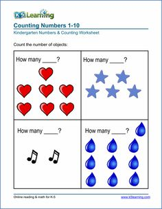 Kindergarten numbers and counting worksheet