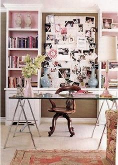 Vintage Chic Office,with shelving behind desk