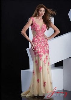 Jasz Couture 5348 Fuchsia Nude Floral Lace Evening Gown