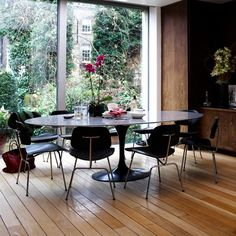 Love the view out this dining room window.