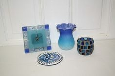 """lot of 4 Mosaic items: vase (not mosaic) glass 4 1/4"""" x 3 1/4""""D **some wax residue may be left inside bottom**,glass  mosaic tea light candle holder 2.5"""" x 2 3/4""""D, mosaic plate/coaster 4 1/4""""D & clock requires AA battery (not included) 4.5"""" x 4 3/4"""". All are in excellent condition. No cracks or chips. $15 Vases For Sale, Tealight Candle Holders, Mosaic Glass, Coasters, Wax, Conditioner, Chips, Clock, Candles"""