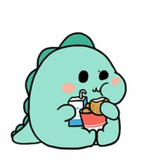 """spookys-space: """"This is me when I get food, I get super duper happy ☆ """" Hd Cute Wallpapers, Cute Wallpaper Backgrounds, Wallpaper Iphone Cute, Dinosaur Background, Dinosaur Wallpaper, Dinosaur Drawing, Cute Doodles, Kawaii Doodles, Dibujos Cute"""